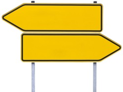 german direction signs with clipping path isolated on white. One arrow pointing to the left, one to the right.