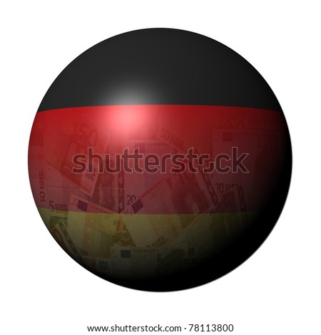 German Euros flag sphere on white illustration