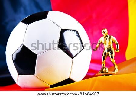 german flag and football closeup