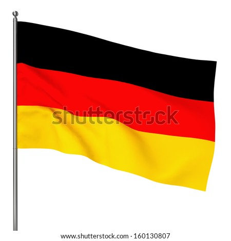German flag. 3d illustration on white background