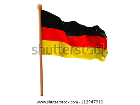 German flag waving on white background. 3D image