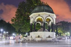 German Fountain in the historical peninsula at night - Istanbul, Turkey
