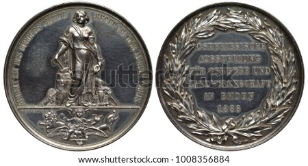 German Germany commemorative silver medal 1888, subject Business and Agricultural Exposition in Emden, female standing near anvil and holding hammer and tongs, bee hive and jug behind,