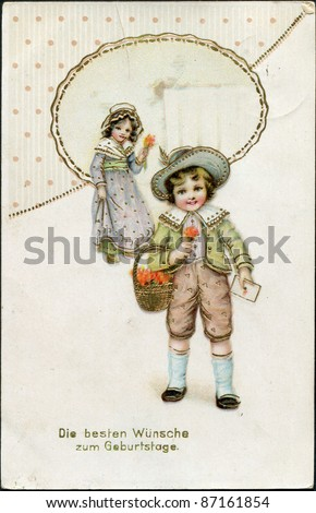 "German greeting postcard, ""Best wishes to the birthday!"", depicts a boy and a girl with flowers, circa 1905"