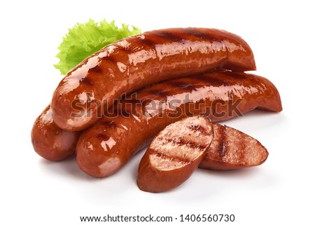 German grilled pork sausages with lettuce, close-up, isolated on white background. Сток-фото ©