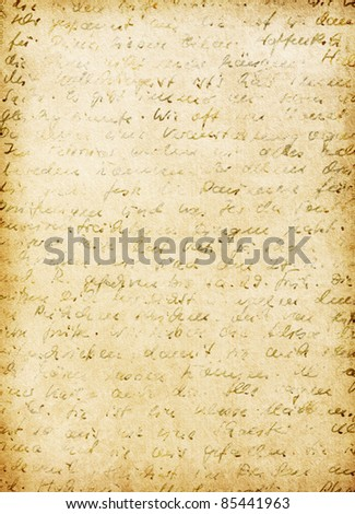 German handwriting on grungy old paper.  Old worn paper - stock photo