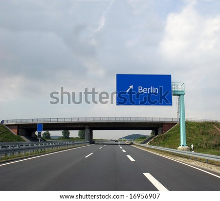 German highway (Autobahn) and direction sign to the captital Berlin