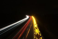 German highway by night long exposure