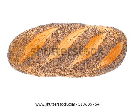 German loaf with poppy seeds isolated on white background - stock photo