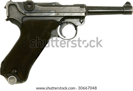 german luger vintage world war 2 gun right side isolated on white