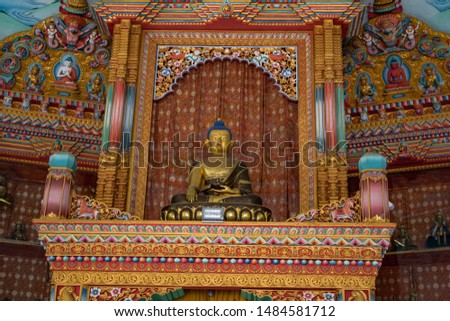 German Monastery interior:the great drigung kagyud lotus stupa. Mediatating Buddha inside German Monastery allowed for public photography without any restrictions for art and design.