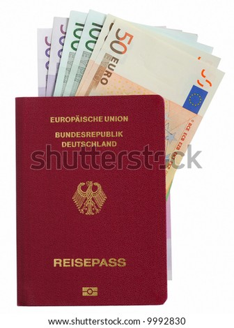 German pass with Euro notes over white background
