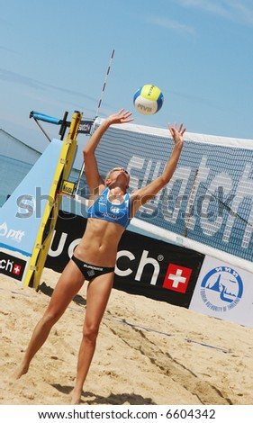 German player Rieke Brink-Abeler competes in the quarter finals of the Swatch-FIVB Women's Beach Volleyball World Tour in Phuket, Thailand on November 2, 2007.