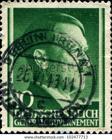 GERMAN REICH - CIRCA 1943: A stamp printed in Germany shows  Adolf Hitler, circa 1943
