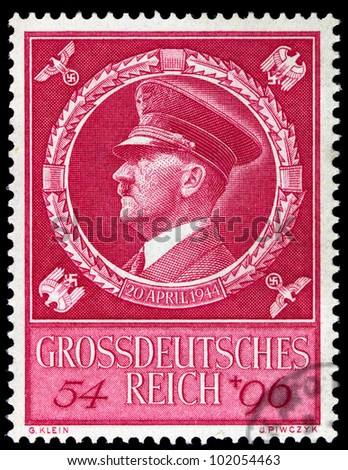 GERMAN REICH - CIRCA 1944: A stamp printed in Germany shows image of Adolf Hitler, circa, 1944