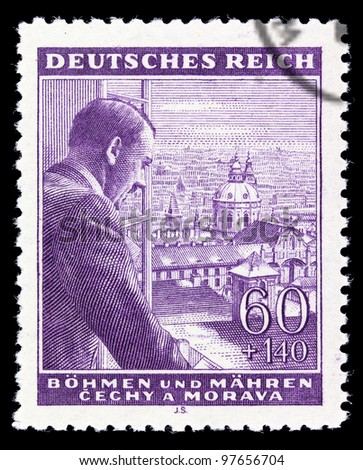 GERMAN REICH - CIRCA 1939: A stamp printed in Germany shows image of Adolf Hitler, circa, 1939