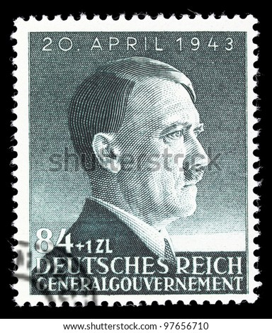 GERMAN REICH - CIRCA 1943: A stamp printed in Germany shows image of Adolf Hitler, circa, 1943