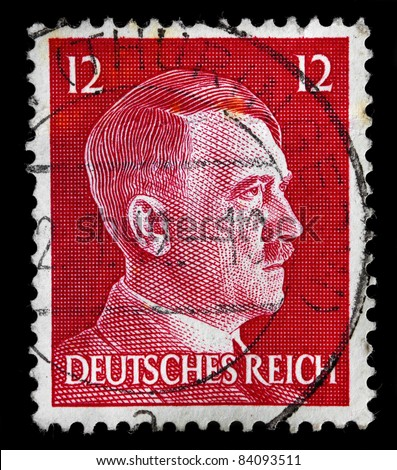 GERMAN REICH - CIRCA 1942: A stamp printed in Germany shows image with portrait of Adolf Hitler, series, circa 1942 - stock photo