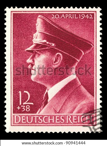 GERMAN REICH - CIRCA 1942: A stamp printed in Germany shows image with portrait of Adolf Hitler, series, circa 1942