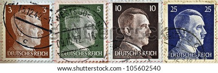 GERMAN REICH - CIRCA 1942: Different stamps printed in Germany showing the image of Adolf Hitler, series 1942 - stock photo