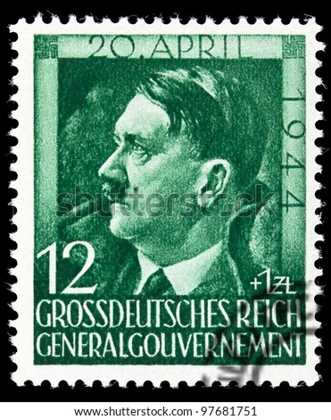 GERMAN REICH - CIRCA 1944: Stamps printed in Germany shows image of Adolf Hitler, circa, 1944