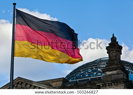 German Reichstag dome with the German national flag