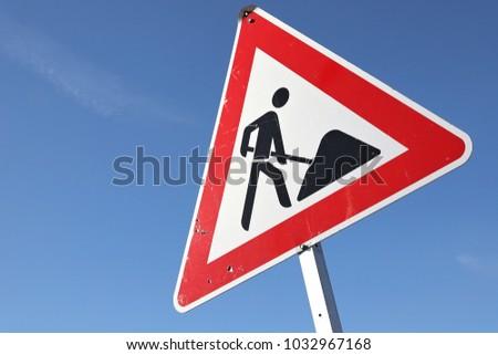 German road sign: roadworks #1032967168