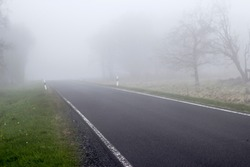 German rural street during foggy weather