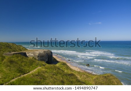 German shelters on the beach in Denmark near to Hirsthals #1494890747
