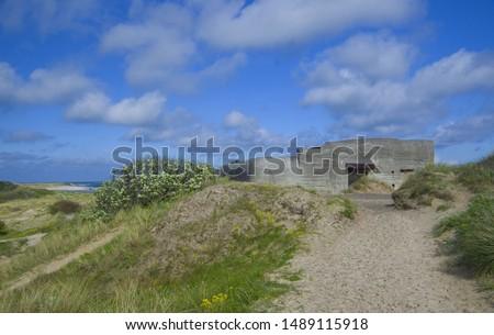 German shelters on the beach in Denmark near to Skagen #1489115918