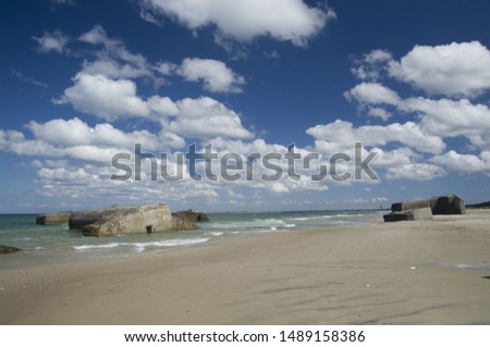 German shelters on the beach in Denmark near to Vigso #1489158386