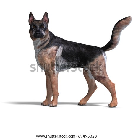 German Shepherd Dog. 3D rendering with clipping path and shadow over white - stock photo
