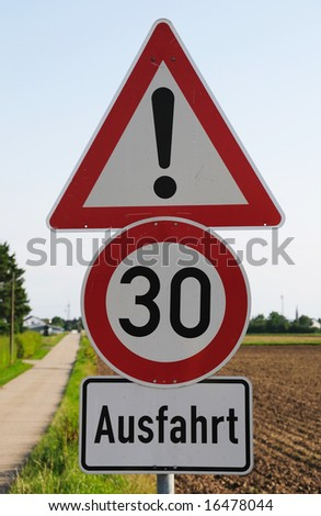 German sign speed limit 30, attention