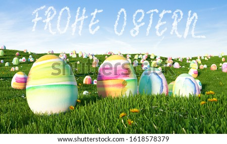 German slogan 'Frohe Ostern!' (Happy Easter) greeting with many colorful eggs on a meadow Stock foto ©