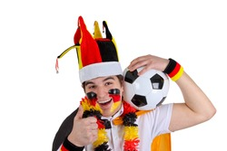 German soccer fan making thumbs up - isolated on white