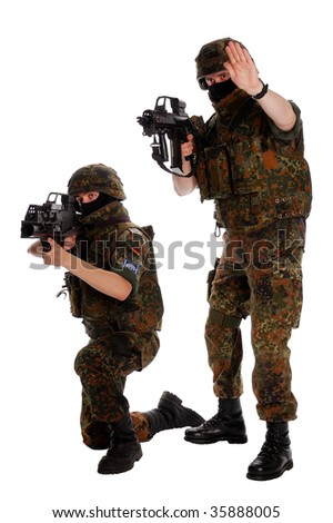 German soldiers with the weapon.
