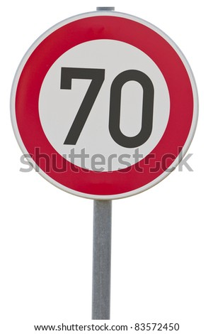 german speed limit sign - 70 km/h isolated on white. With clipping path