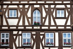 German timber frame outside a historical house