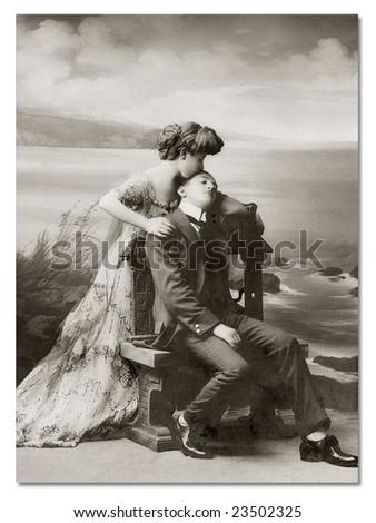 German vintage postcard, beginning of XX century. - stock photo