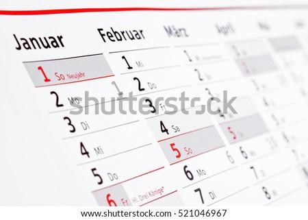 German wall calendar #521046967