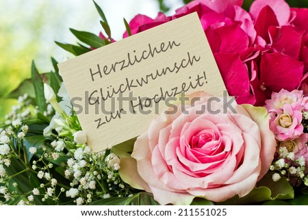 German birthday card with pink flowers… Stock Photo 211550551