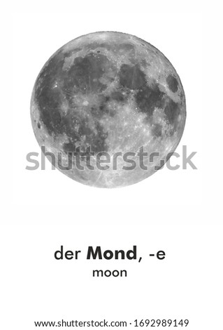German word card: der Mond (moon) Stock fotó ©