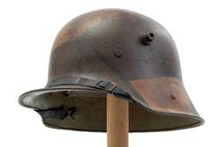 German World War One (Stahlhelm) military helmet isolated on white background
