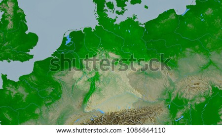 Germany Area On The Topographic Physical Map In The Stereographic