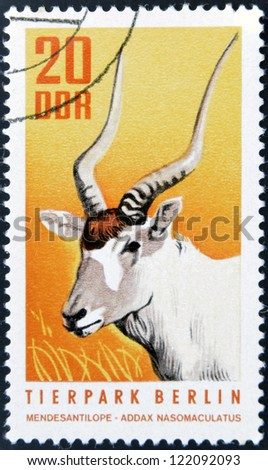 GERMANY-CIRCA 1970: A post stamp printed in Germany shows antelope, circa 1970