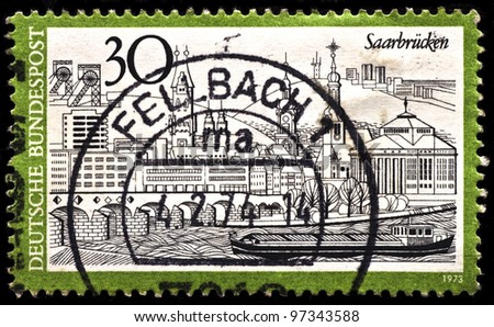 GERMANY -CIRCA 1973: A post stamp printed in Germany shows Saarbrucken, the capital of the state of Saarland in Germany, circa 1973.
