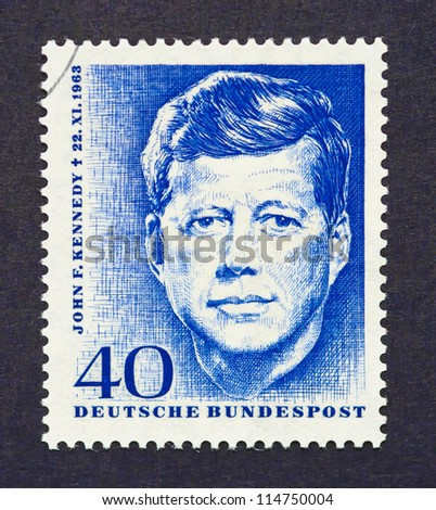 GERMANY -Â?Â? CIRCA 1964: a postage stamp printed in Germany showing an image of John Fitzgerald Kennedy, circa 1964.