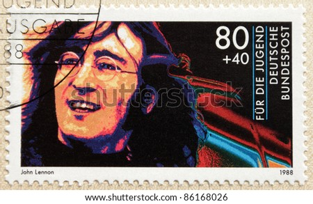 GERMANY - CIRCA 1988. A postage stamp printed in Germany shows image portrait of famous English musician singer and songwriter John Winston Lennon (1940-1980), circa 1988.