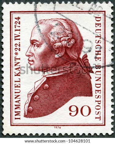 GERMANY- CIRCA 1974: A stamp printed by Germany shows Immanuel Kant (1724-1804), philosopher, circa 1974