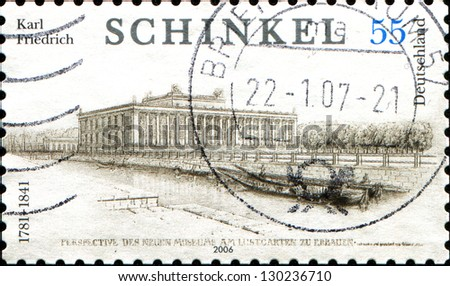 GERMANY - CIRCA 2006: A stamp printed in German Federal Republic shows Karl Friedrich Schinkel architect, museum, circa 2006